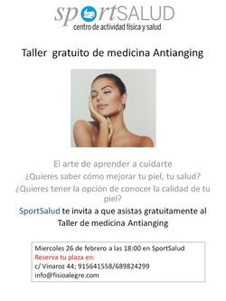 Taller  gratuito de medicina Antianging