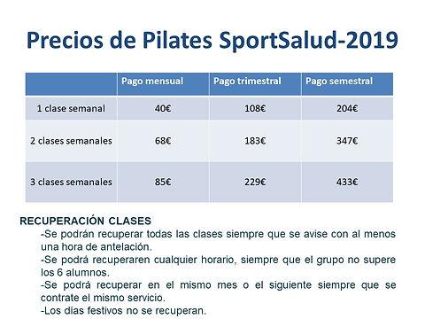 Precios  y Horarios de Pilates SportSalu