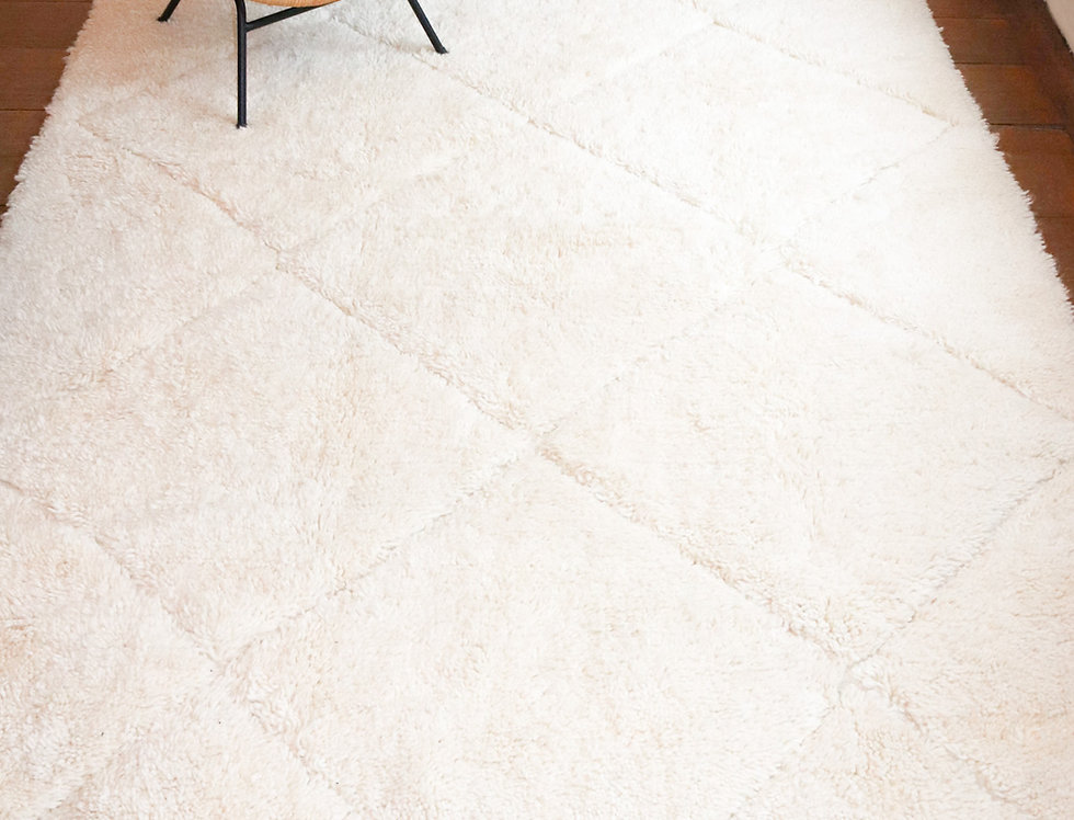 TANIRT - Tapis berbère Béni Ouarain écru 160 x 260 cm