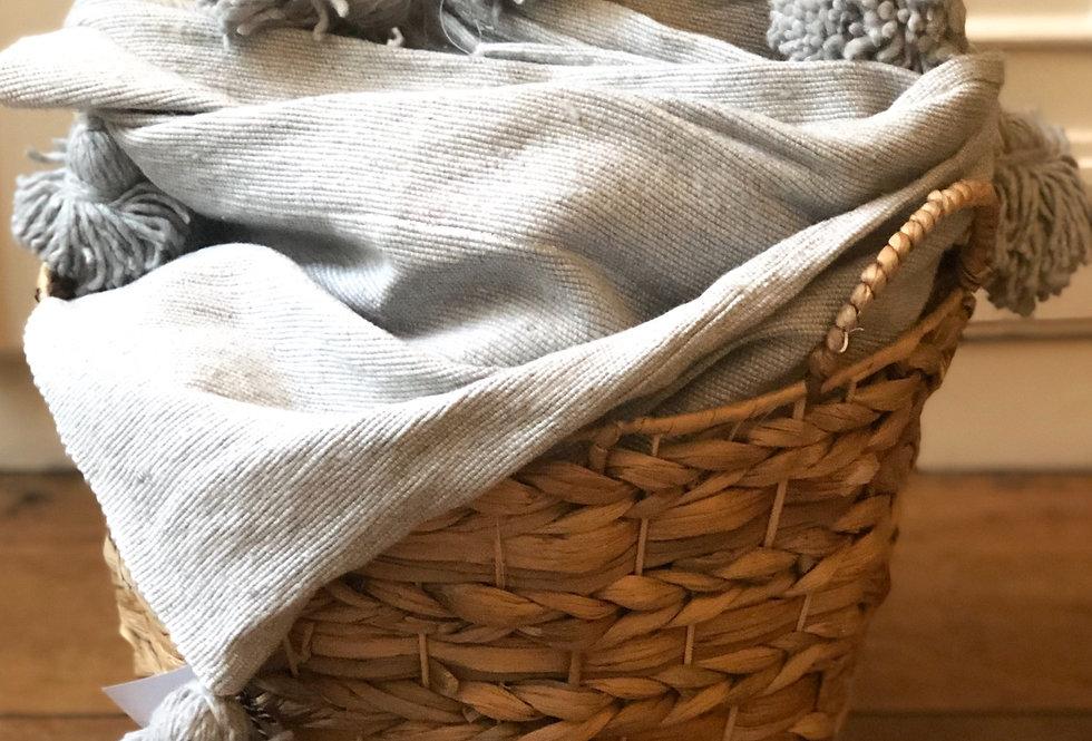 plaid coton pompons gris lille