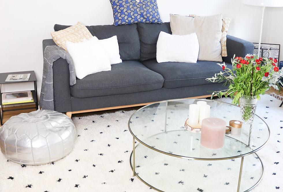 BAYA - Berber rug Beni Ouarain ecru with black dots 2x3m