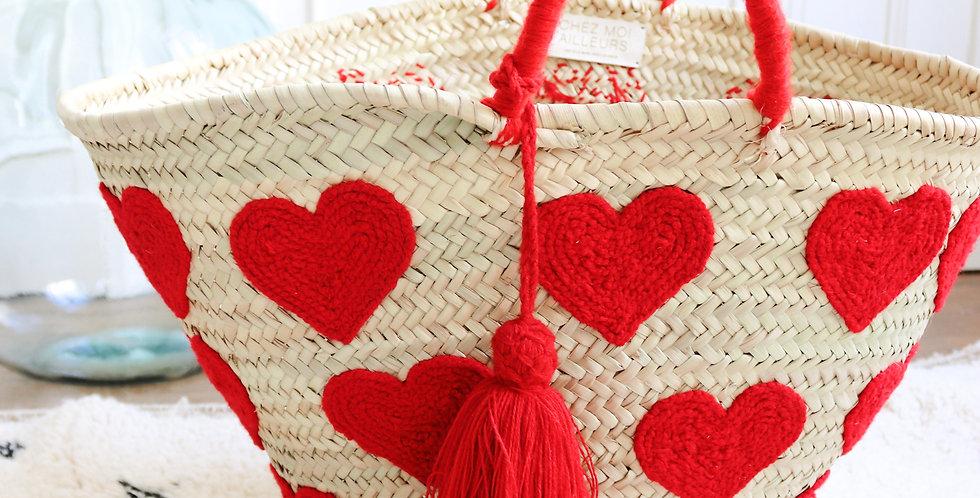 Panier coeur rouge