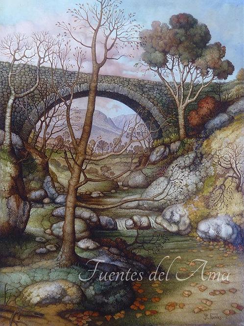 Puente de piedra 33x24 cm