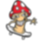 Mischievious mushroom Riding Skateboard.
