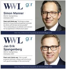 Recognition of Simon Manner and Jan Erik Spangenberg