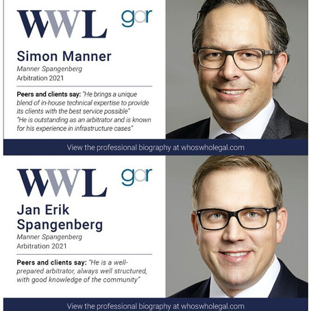 Recognition of Simon Manner and Jan Erik Spangenberg