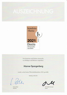 MANNER SPANGENBERG listed amongst Germany's leading commercial law firms 2021 for dispute resolution
