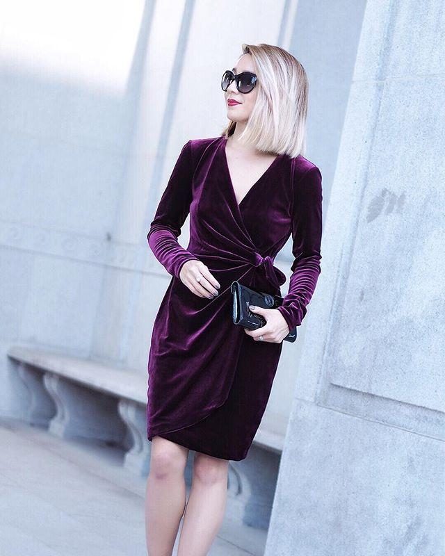 Maggy London Velvet Wrap Dress