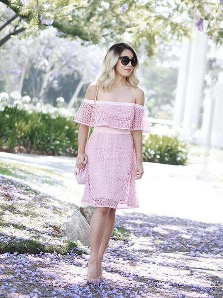 Bardot Pink Lace Dress
