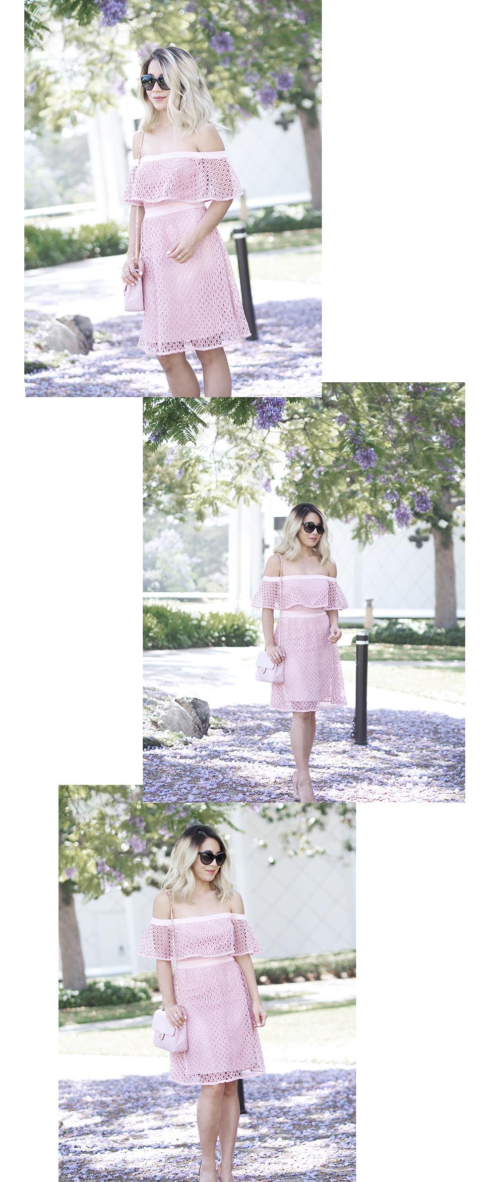 Bardot Pink Lace Dress   Lam in Louboutins