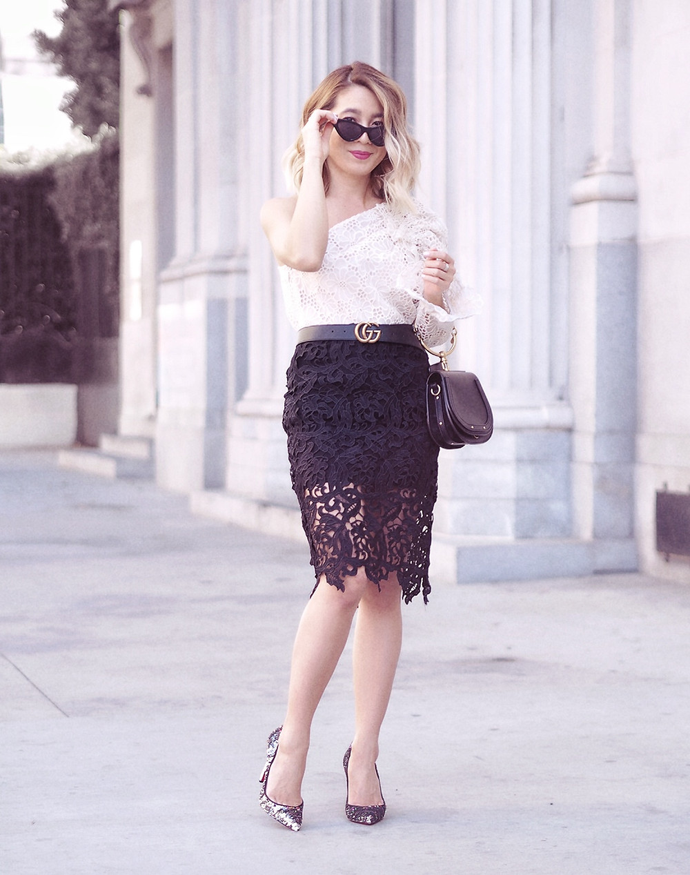 Lace One Shoulder Top | Lam in Louboutins