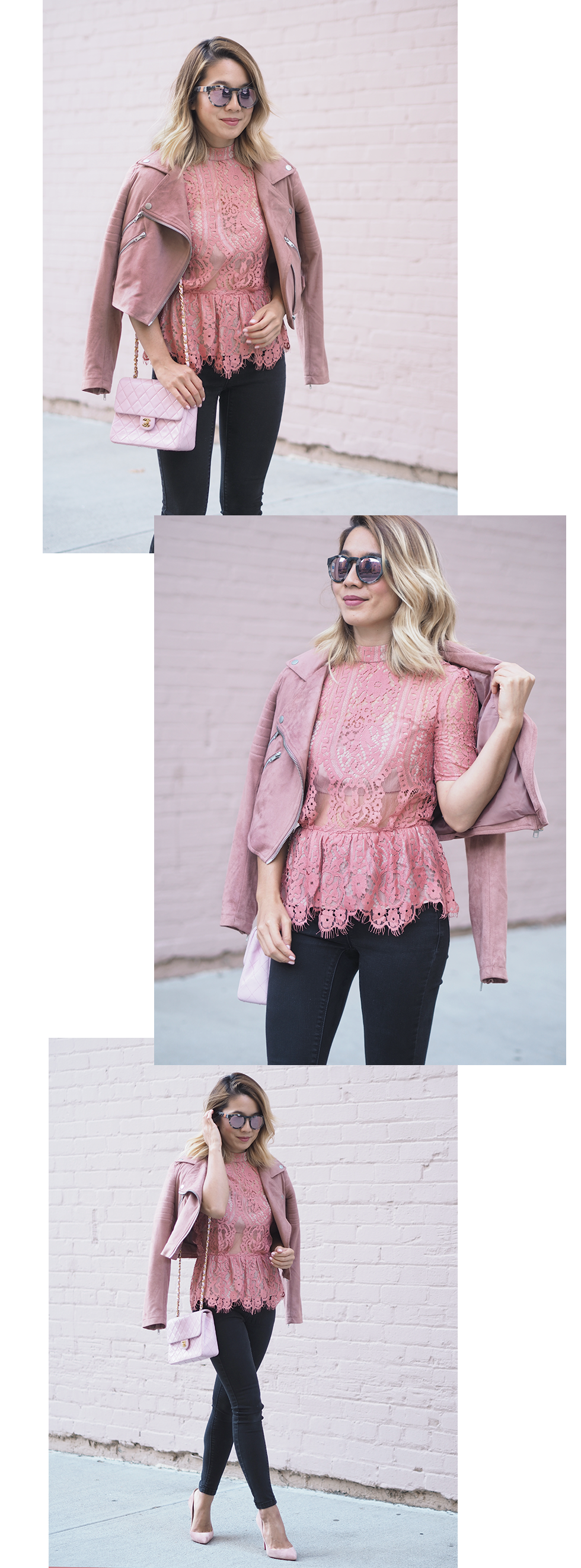 WAYF Lace Peplum Top