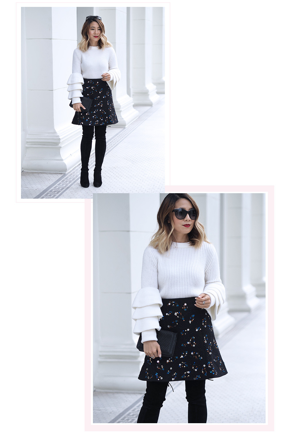 Club Monaco Sweater and Skirt | Lam in Louboutins
