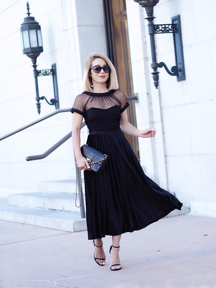 Maggy London Velvet Pleated Skirt