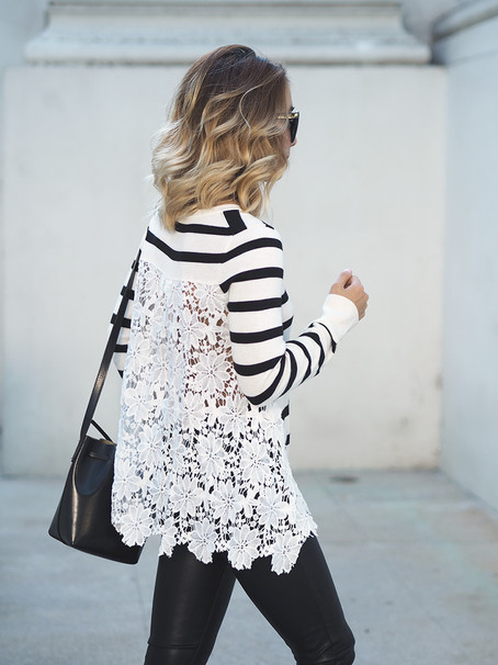 Striped Lace Back Sweater