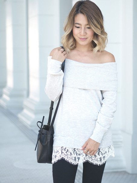 Lace Trim Off Shoulder Sweater