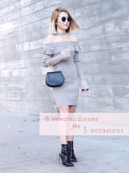 How To Style 5 Sweater Dresses for 5 Different Occasions