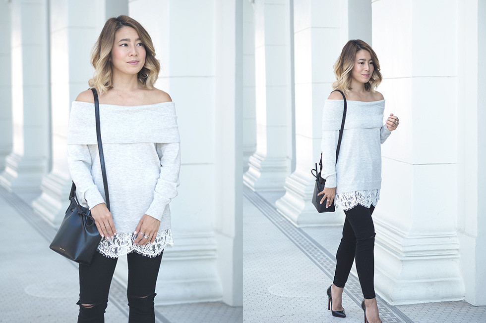 Nordstrom Lace Trim Off Shoulder Sweater