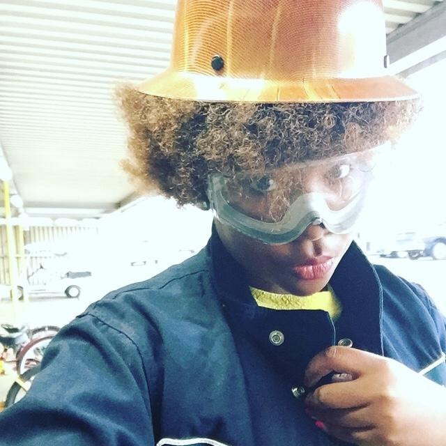 My fro didn't like being under that hard hat much.