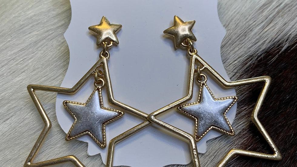 Gold/Silver Double Star Earrings