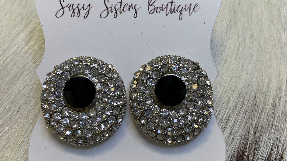 Black & Rhinestone Earrings