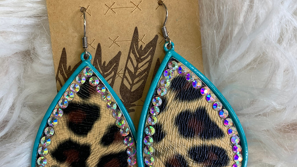 Turquoise and Leopard Teardrop