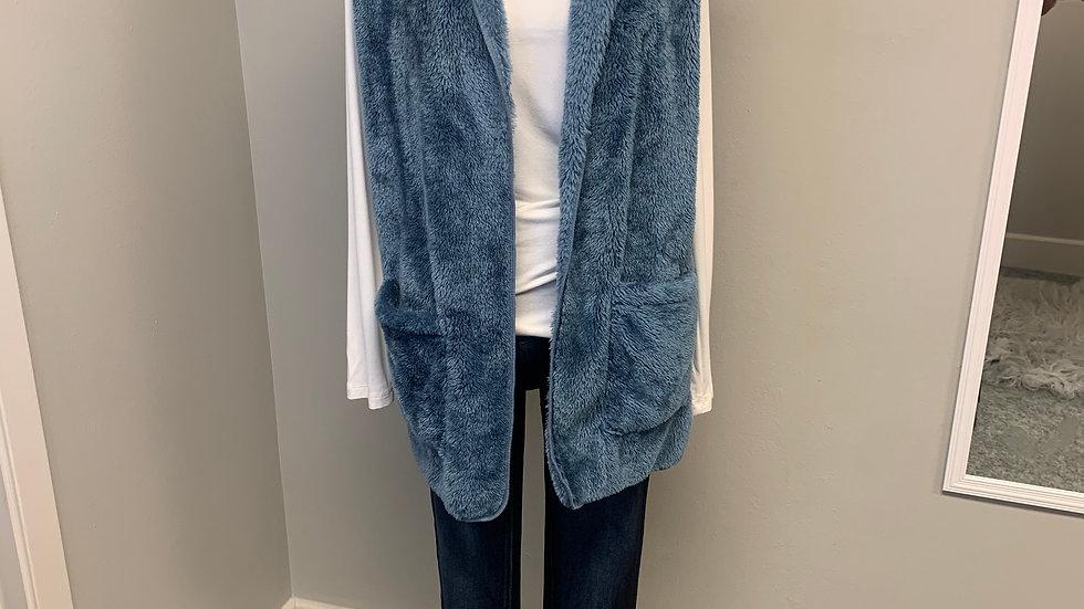 Fuzzy Hoodie Vest