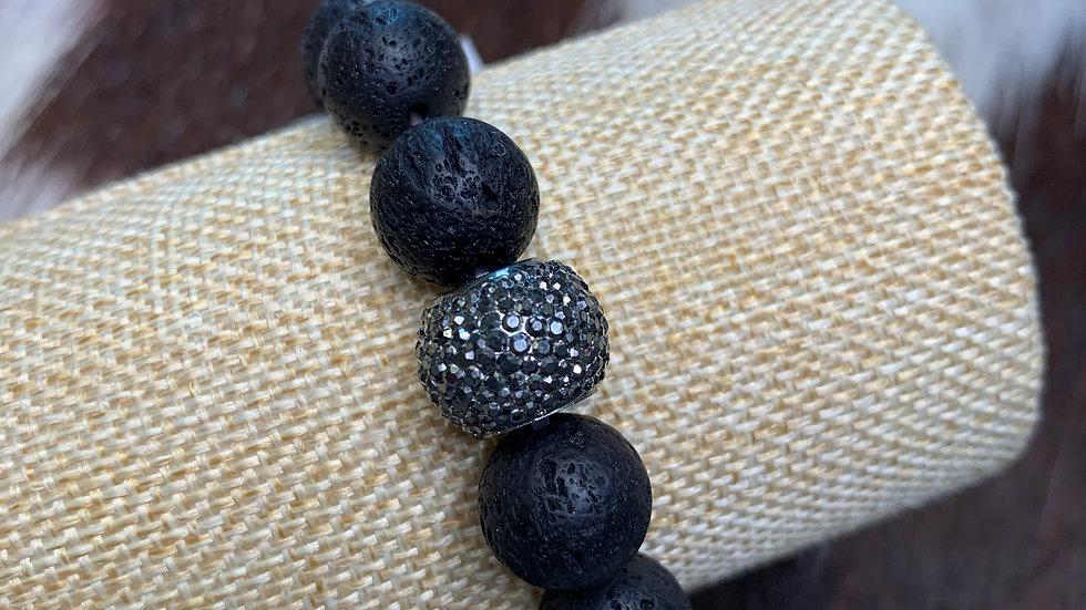 Charcoal Black Beaded Bracelet