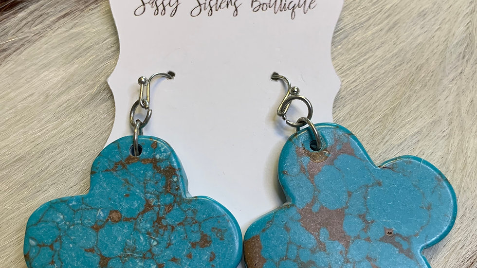 Cheekys Turquoise Mini Cross Earrings
