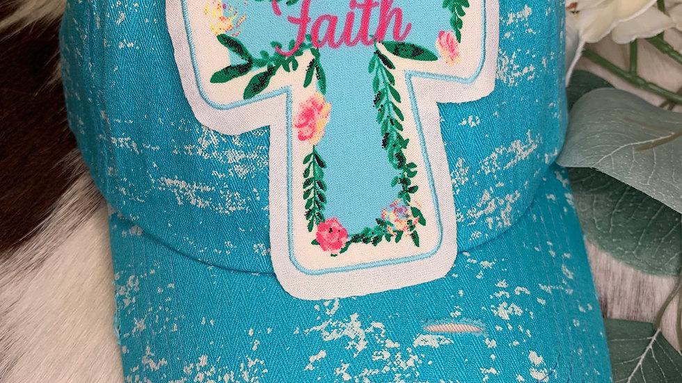 Blue Faith Cross Hat