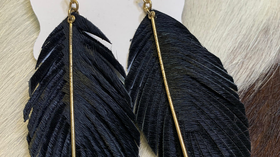 Suede Feather w/Gold bar