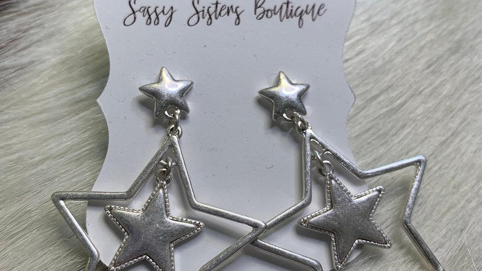Silver Double Star Earrings