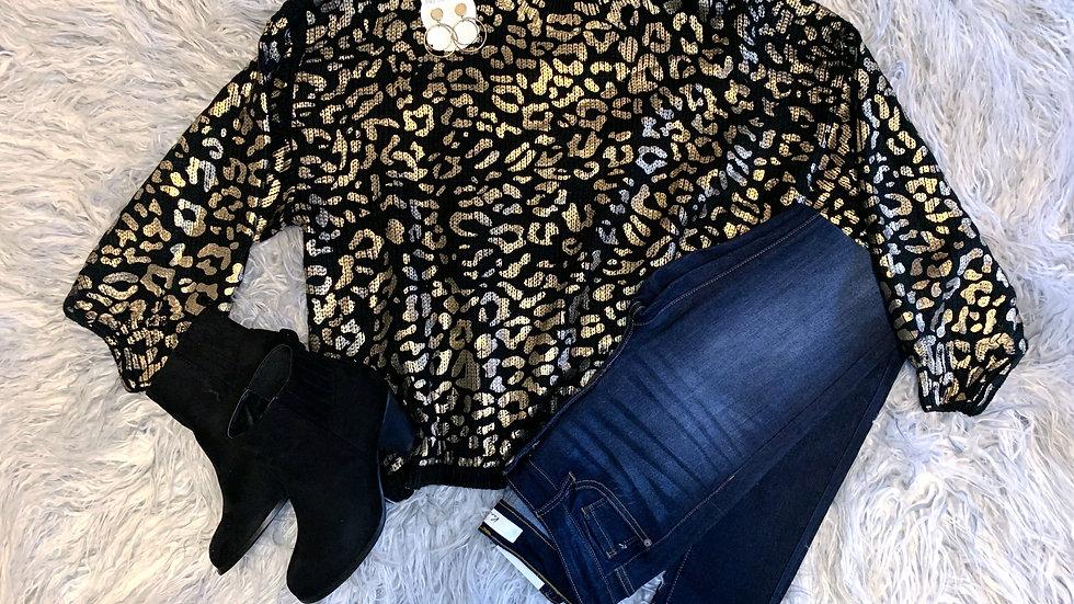Black & Gold Leopard Sweater