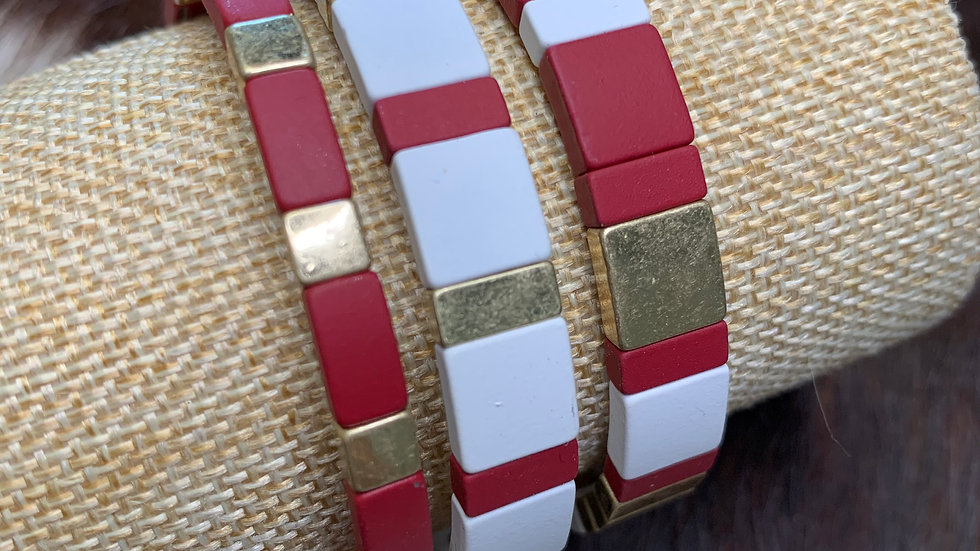 Red, White, and Gold Bracelet Set