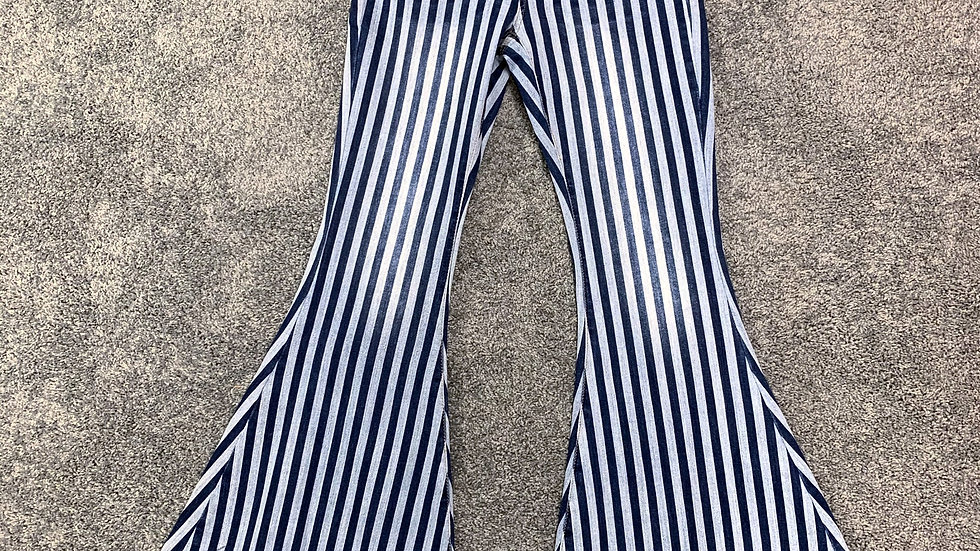 Denim Striped Bell Bottoms