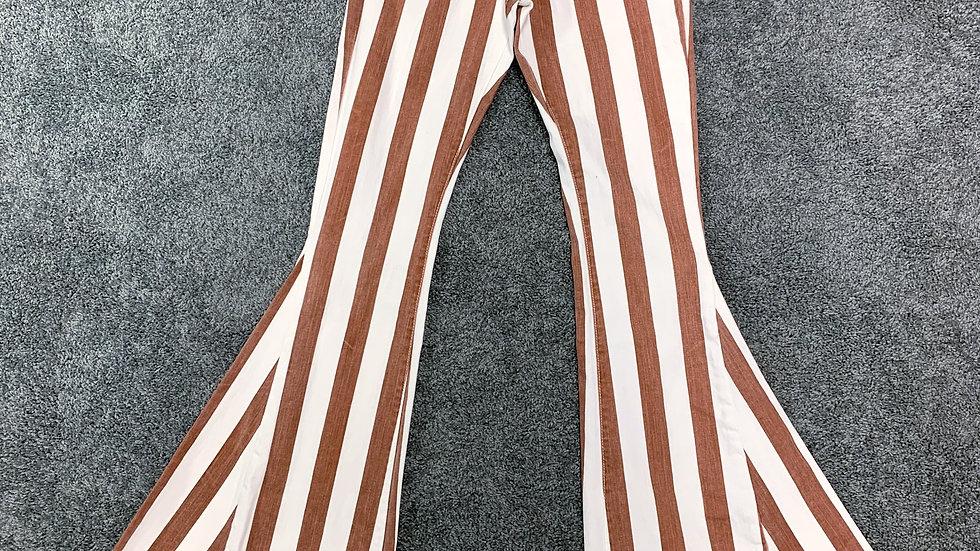 Rust Striped Bell Bottoms