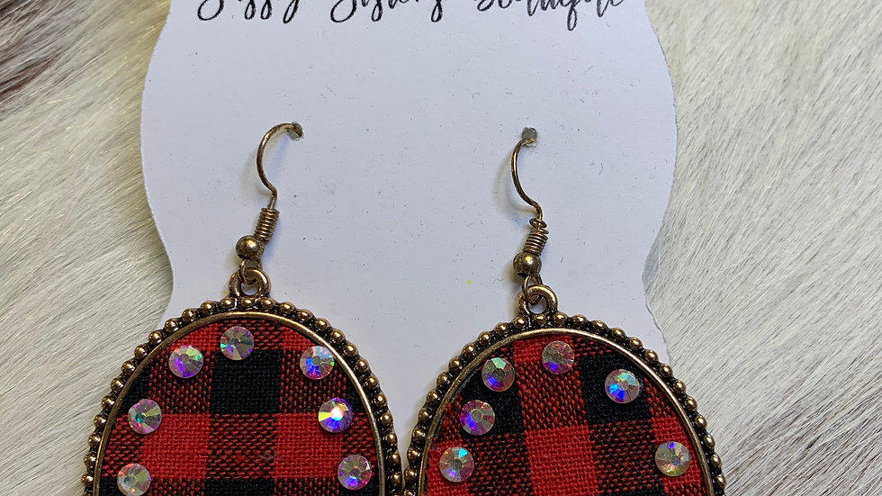 Buffalo Plaid/Rhinestone Earrings