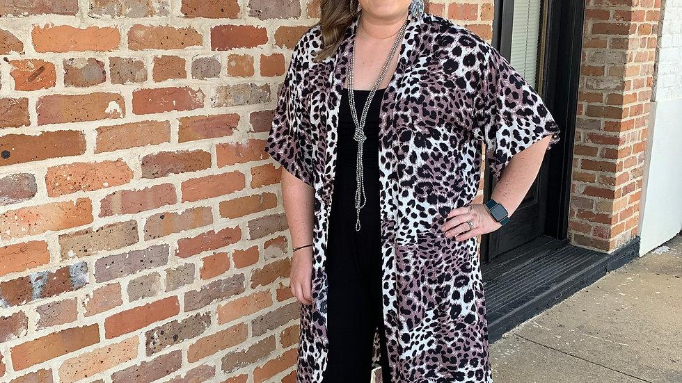 White and Brown Leopard Kimono