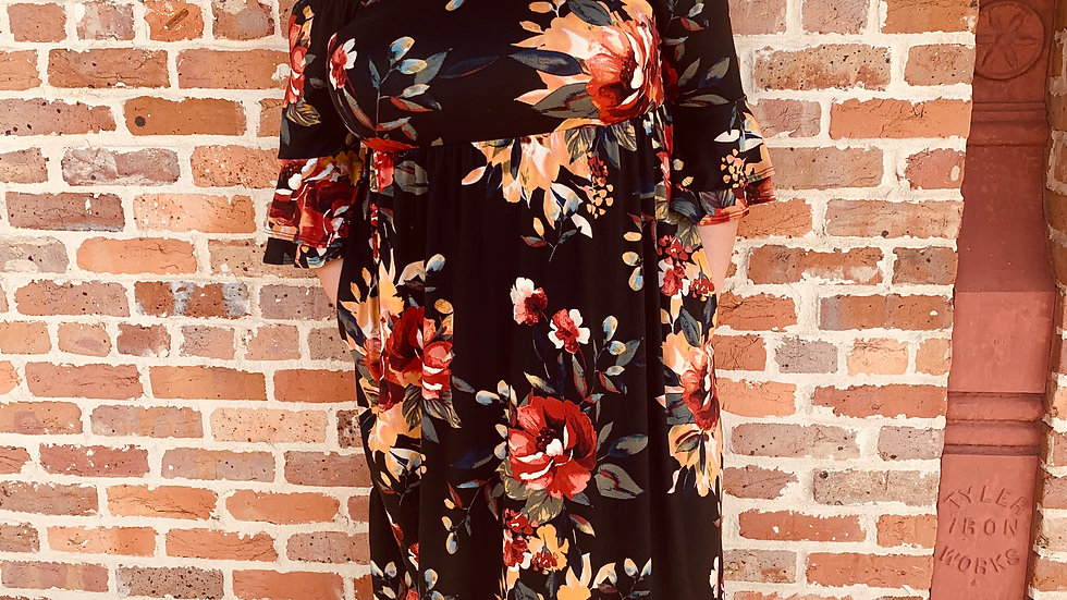 Sweet Lovely Black Floral Dress