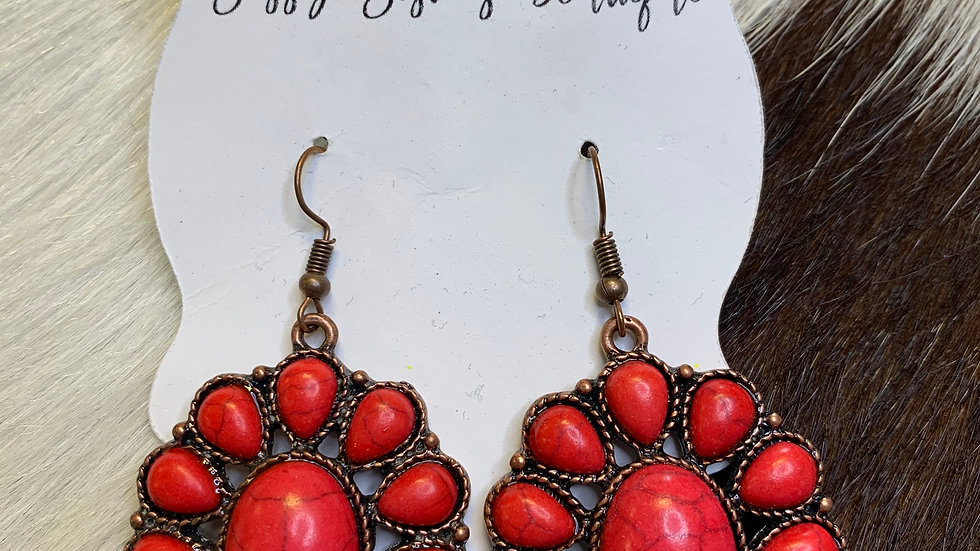 Ashlyn Rose Earrings Red Stone/Copper