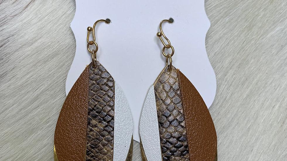 Gold Snake Leaf Earrings