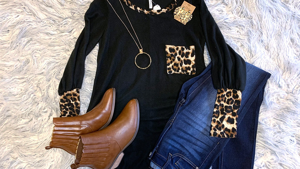 Coco Black Leopard Top