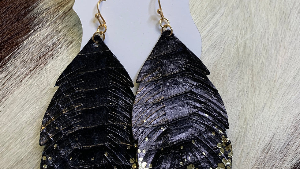 Black/Gold Feather Leaf Earrings
