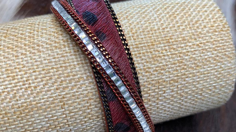 Cowhide Magnetic Bracelet-Maroon