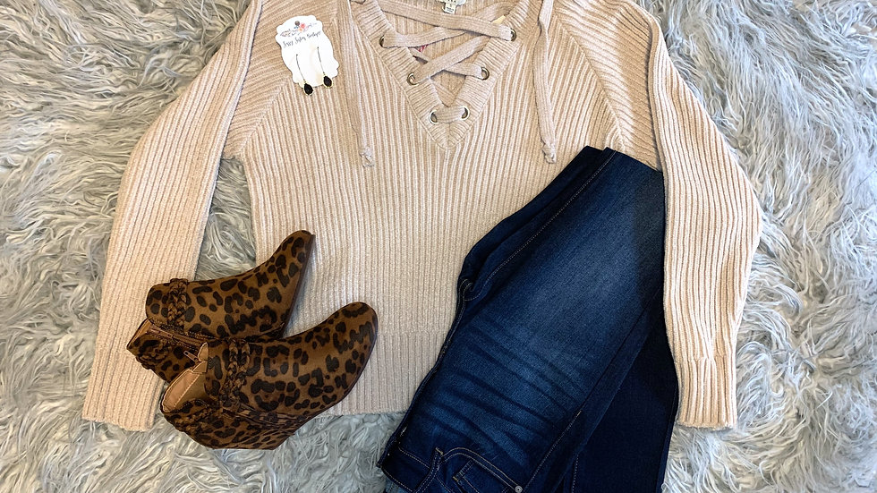 Umgee Sweater Lace Up-Cream