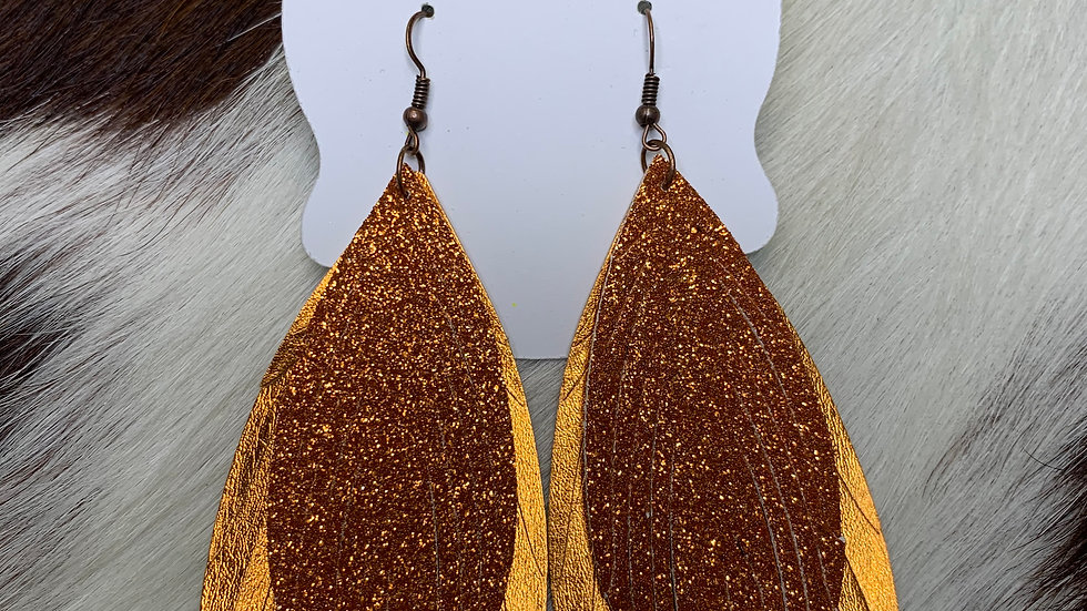 Ashlyn Rose Orange Feather Earrings