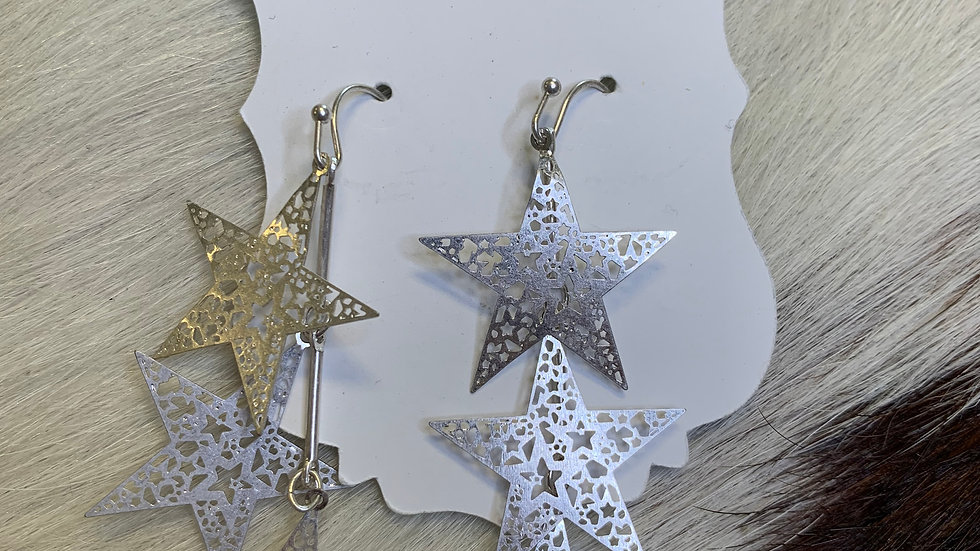Silver Layered Star Earrings