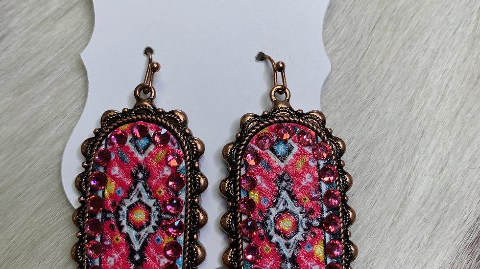 Pink Oblong Aztec Earrings