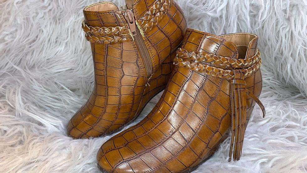 Tan Croc Booties