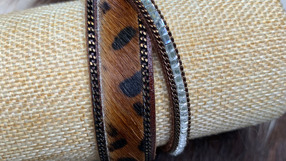 Cowhide Magnetic Bracelet-Brown